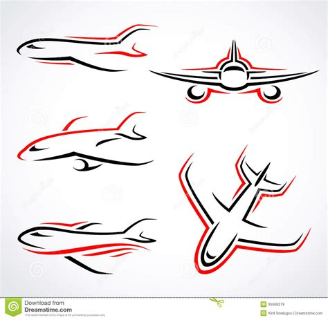 airplane abstract set vector royalty free stock images
