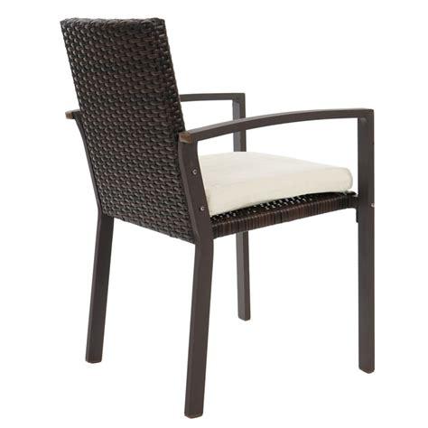 lot de 2 chaises de jardin polyrotin marron avec coussin