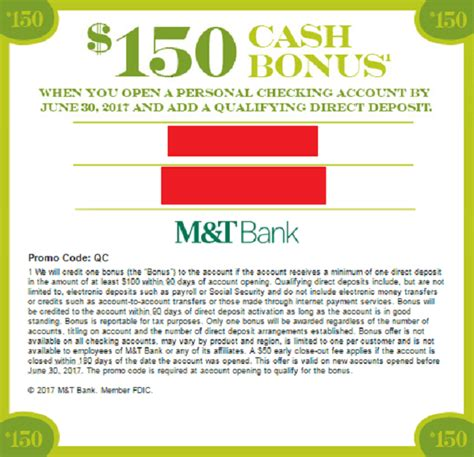 open a new bank account offers m t bank bonuses 150 160 250 promotions