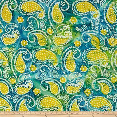 batik design of india indian batik caledonia garden paisley teal yellow
