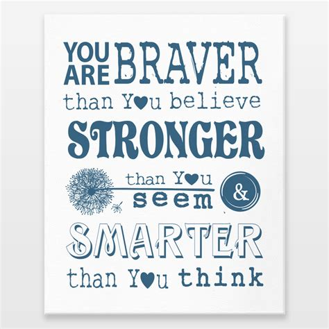 printable christopher robin quotes you are braver than you believe winnie the pooh