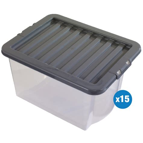 Clear Box No20 no reserve 15 x clear 30 litre plastic box with lid boxes storage container wham ebay