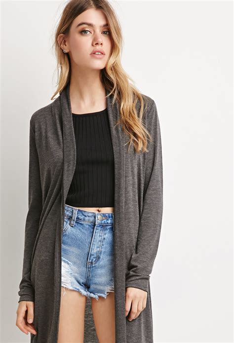 Cardigan Forever 21 Forever 21 Heathered Longline Cardigan In Gray Charcoal