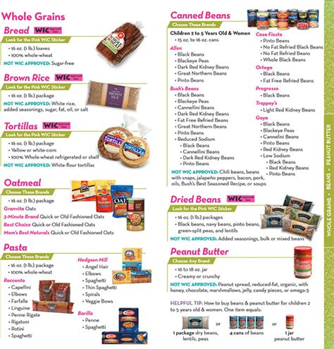 whole grains wic florida wic food list