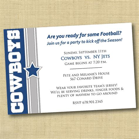 dallas cowboys football party invitation diy by
