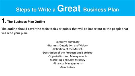 how to write business plan sle