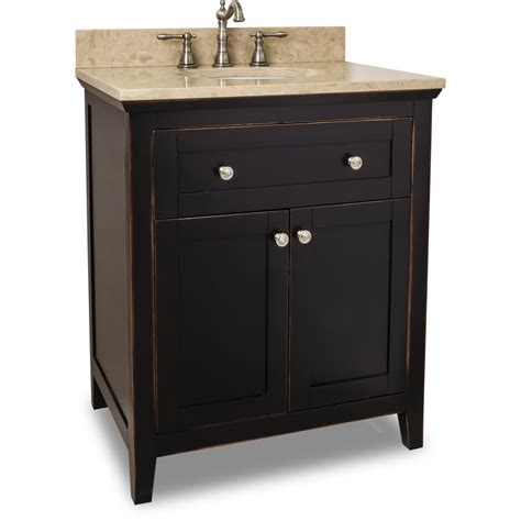 Preassembled Kitchen Cabinets by Jeffrey Alexander Chatham Shaker Vanity Aged Black 30w