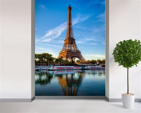 Wall Murals Eiffel Tower Eiffel Tower Reflection Wallpaper Wall Mural Wallsauce