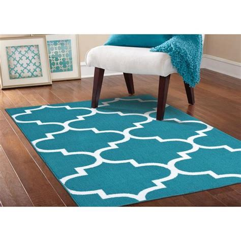 Teal And White Area Rug Somette Geometric Teal White Area Rug 5 X 7 Free Shipping Today Overstock 16895270