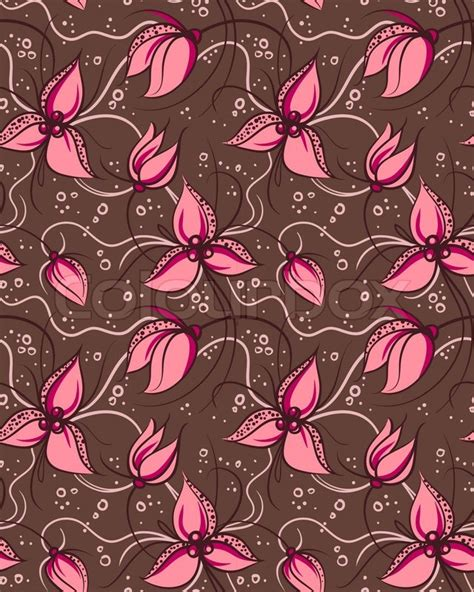 orchid pattern vector seamless pattern pink orchid flowers stock vector