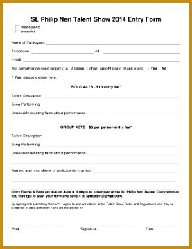 talent show registration form template 3 talent show registration form template fabtemplatez