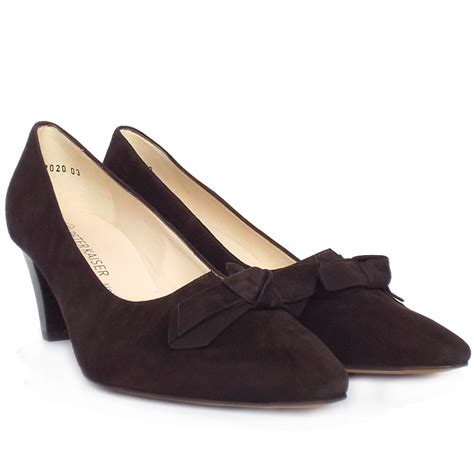 with shoes kaiser leola mid heel court shoes in brown suede