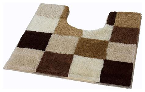 Multi Color Bathroom Rugs Toffee Checker Pattern Rich Multi Color Plush Bathroom Rug Caro Contemporary Bath Mats By