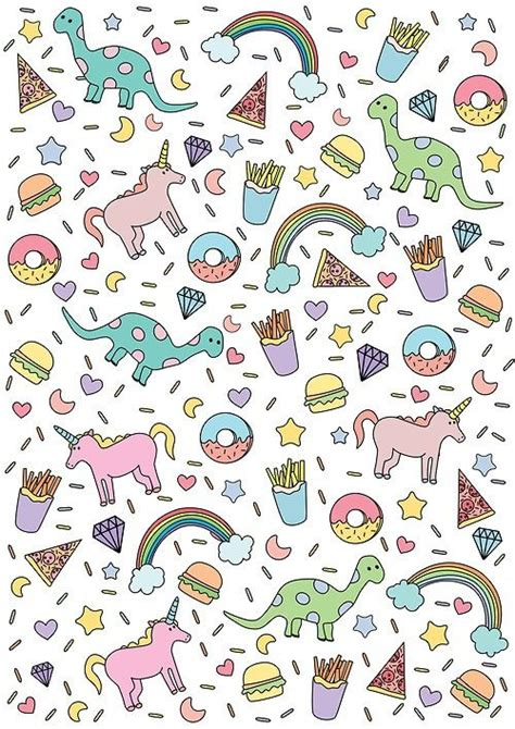 Unicorn Pattern Background | cute unicorn dinosaur rainbow donuts stars pizza burger