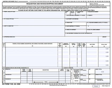 dd template dd form 1149 requisition and invoice shipping launch from