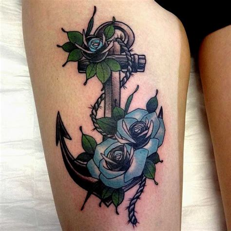 anchor thigh tattoo 43 most popular anchor tattoos designs and their meanings