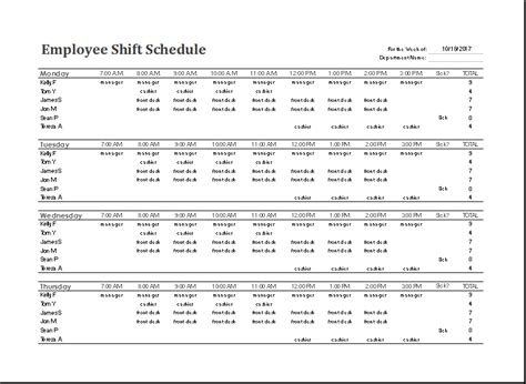 daily shift schedule template ms excel employee shift schedule template word excel