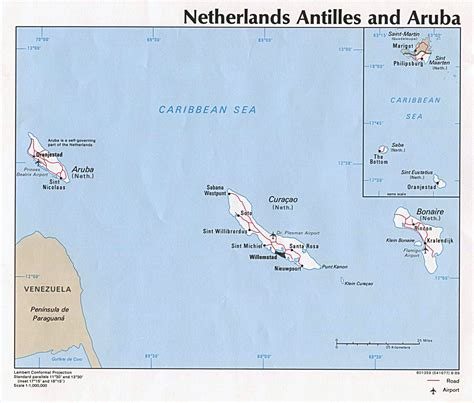 printable road map of aruba detailed political map of netherlands antilles and aruba