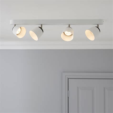 B Q Kitchen Ceiling Lights Dender County White 4 L Ceiling Spotlight Bar Departments Diy At B Q