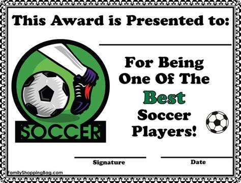 soccer certificate awards awards free printable ideas