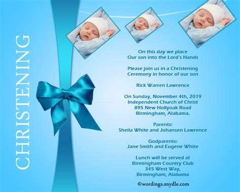 Invitation Letter Sle For Baptism Christening Invitation Wording Sles Wordings And Messages