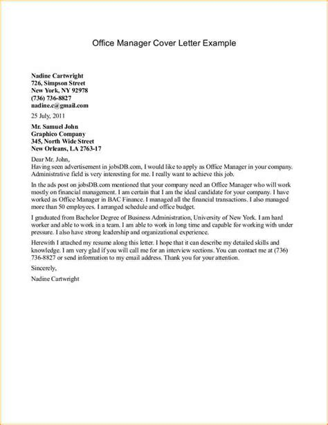 Cover Letter For Manager 14 Cover Letter Sle For Office Administrator Basic