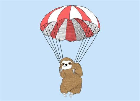 Tshirt Slevee Air Keren parachuting sloth by keren boshi threadless