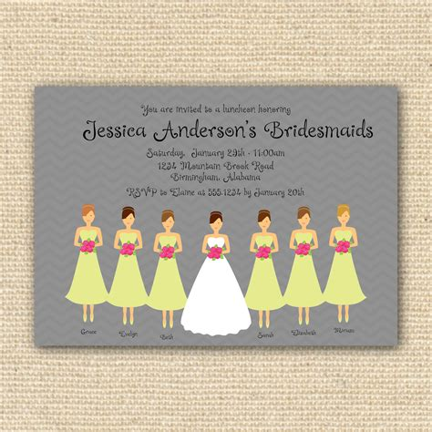 bridesmaids luncheon invitation bridal brunch diy
