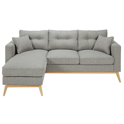 fabric modular sofa scandinavian 4 5 seater light grey fabric modular corner sofa brooke maisons du monde