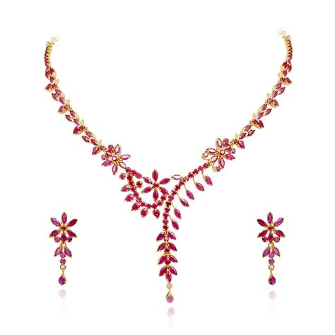 ruby sparkling floral ruby necklace set grt jewellers