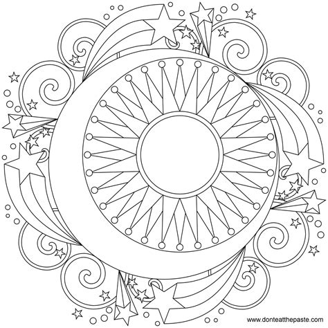 Don T Eat The Paste Star Mandala To Color Coloring Pages Mandala