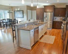 Open Kitchen Island Designs Open Concept Kitchen With Hickory Stained Perimeter