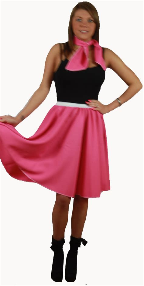 rock n roll skirt scarf set 1950s 1960s pink fancy dress