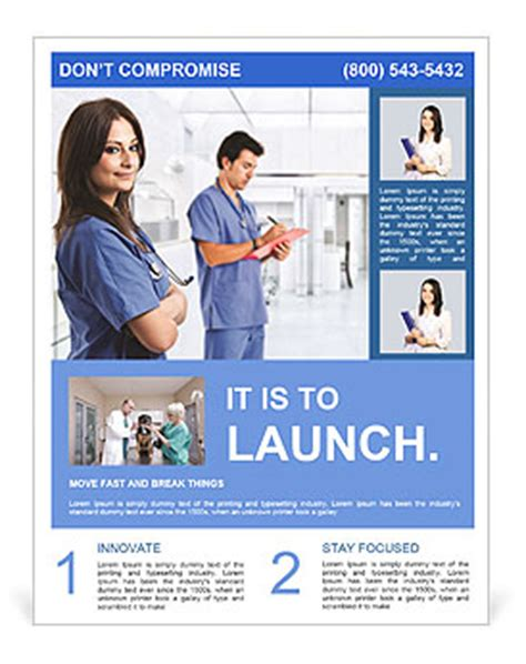 portrait of a beautiful smiling nurse flyer template