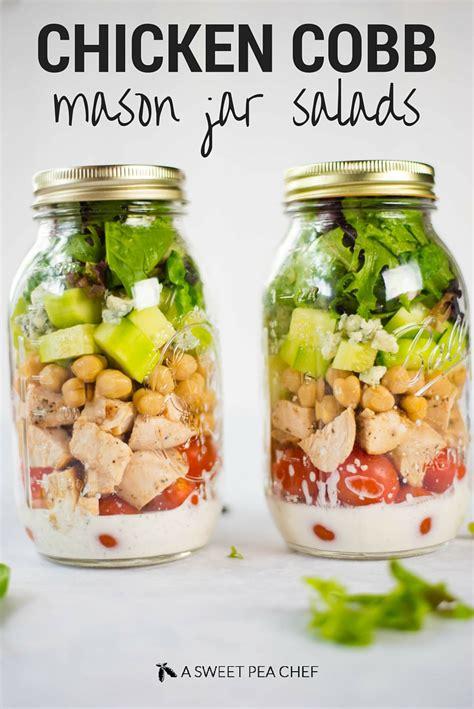 printable salad in jar recipes chicken cobb mason jar salad with a clean ranch dressing
