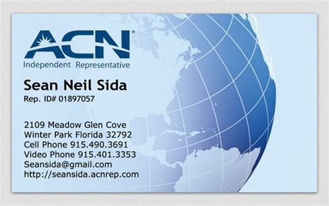 acn template business cards project acn mlm business business card orlando fl