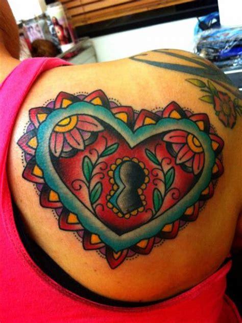 tattoo new school heart shoulder new school heart lock tattoo by alex strangler