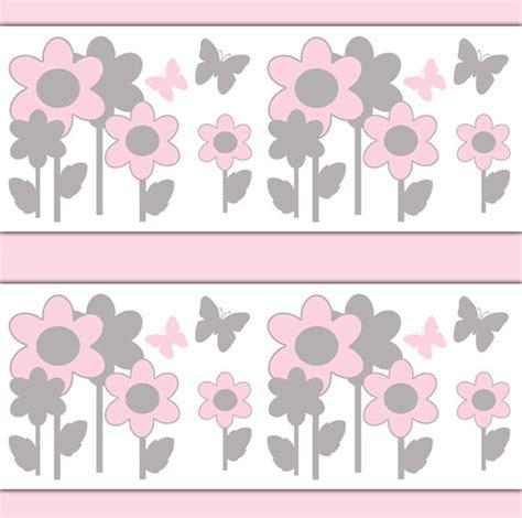 pink borders for bedrooms pink gray nursery butterfly flower garden wallpaper border