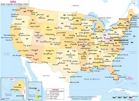us map with main cities buy us state capitals and major cities map