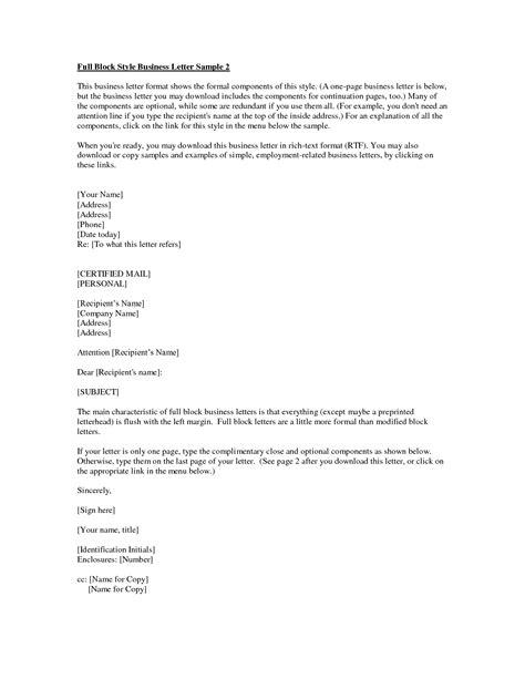 Business Letter Format Cc Line business letter enclosure free business template