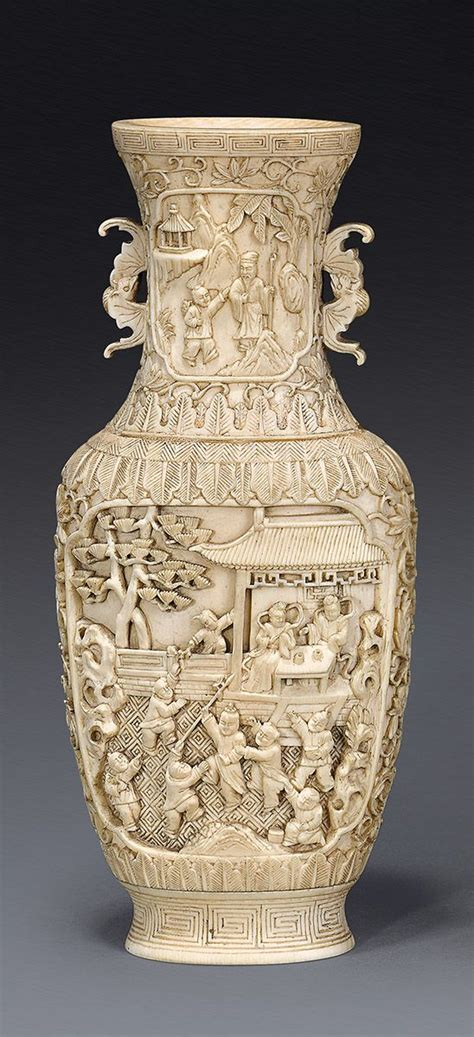 Ivory Dynasty Vase by An Ivory Vase Qing Dynasty 19th Century Of Oval Section