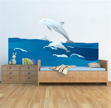 Dolphin Wall Sticker dolphins and waves wall decal animal wall decal murals