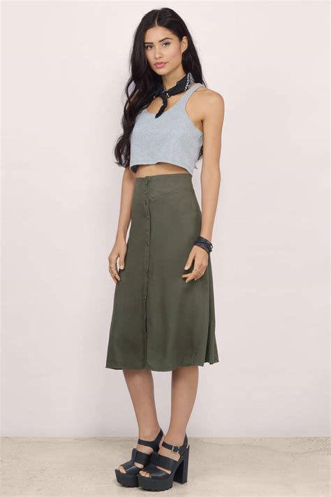 as a button olive flared button midi skirt 38