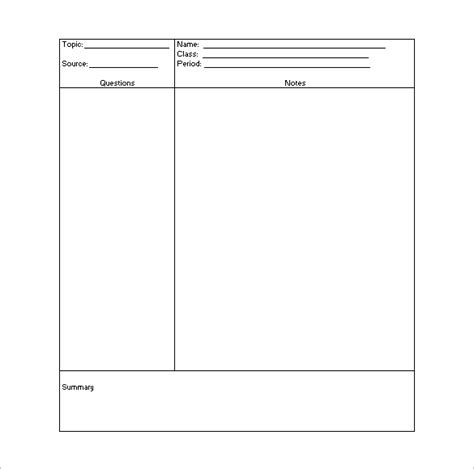 cornell notes template 51 free word pdf format