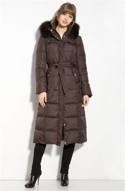 Quilted Fur Coat by Tracy Quilted Coat With Fox Fur Ruff In Brown