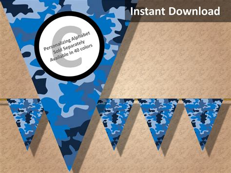 Blue Camouflage Decorations by Blue Camo Camouflage Bunting Pennant Banner Camo Camouflage
