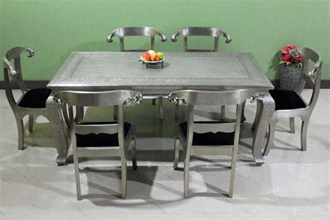White Metal Dining Table Buy Embossed White Metal Dining Set White Metal Dining Table With Ram S Chairs