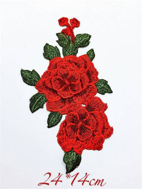jual floral patch embroidery bordir bunga mawar la