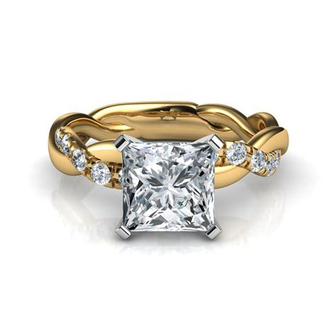 twist princess cut engagement ring