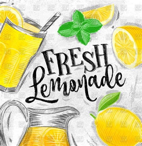 fresh lemonade lettering glass lemon and mint royalty